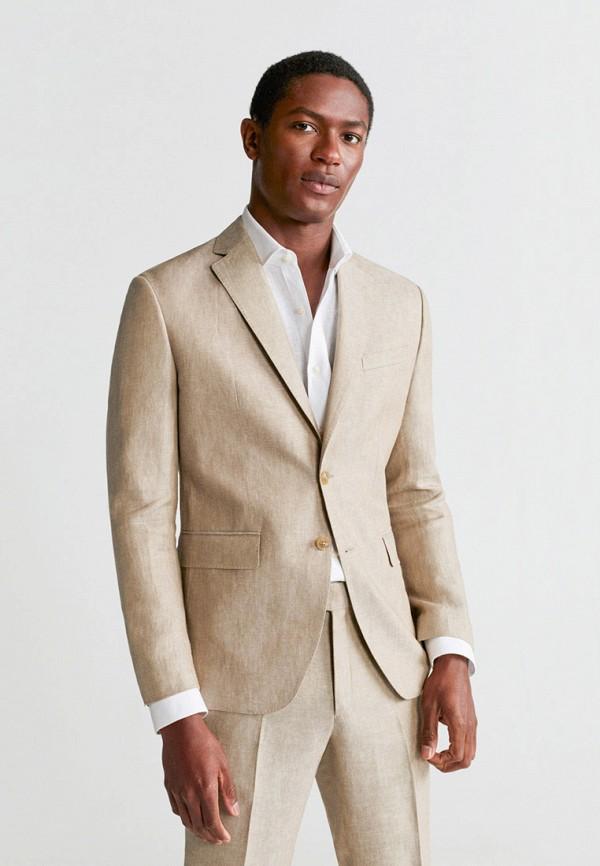 мужской пиджак mango man, бежевый