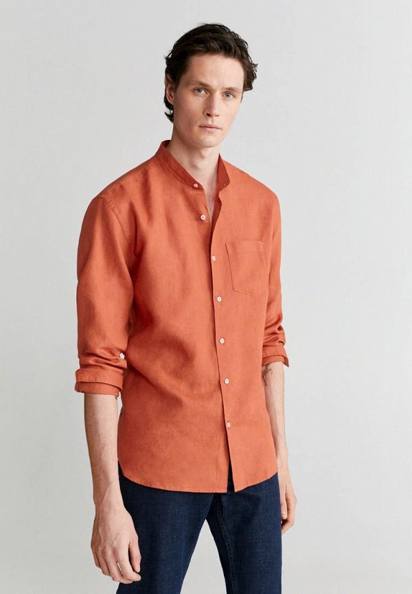 мужская рубашка с длинным рукавом mango man, оранжевая