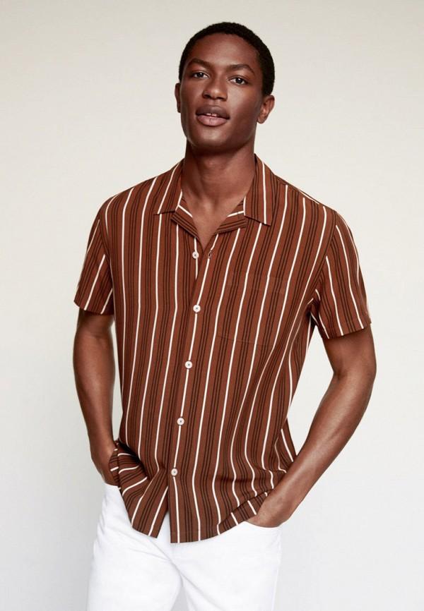 мужская рубашка с коротким рукавом mango man, коричневая