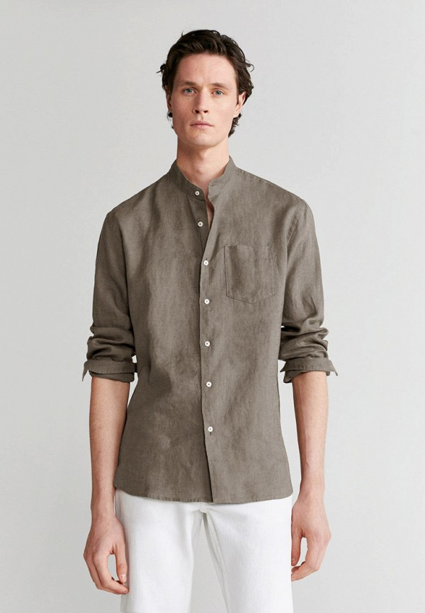мужская рубашка с длинным рукавом mango man, хаки