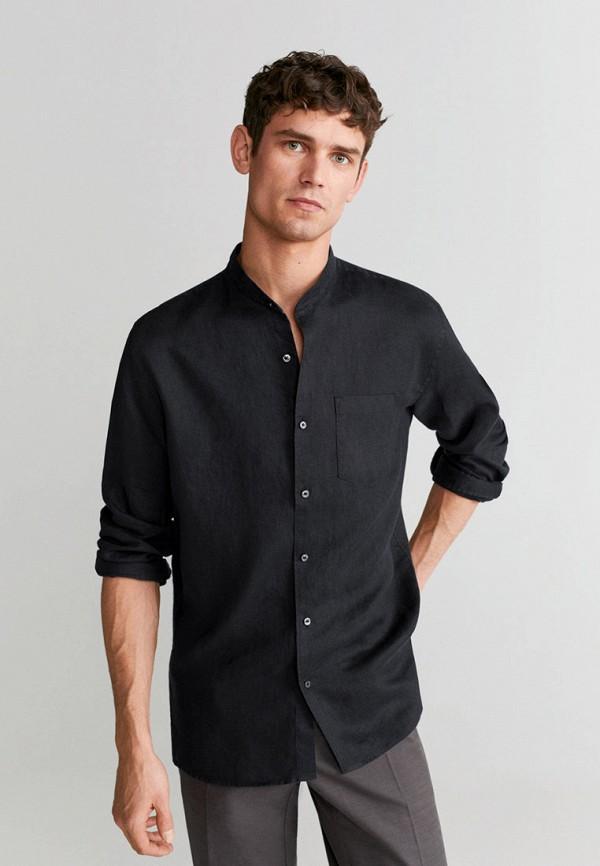 мужская рубашка с длинным рукавом mango man, черная