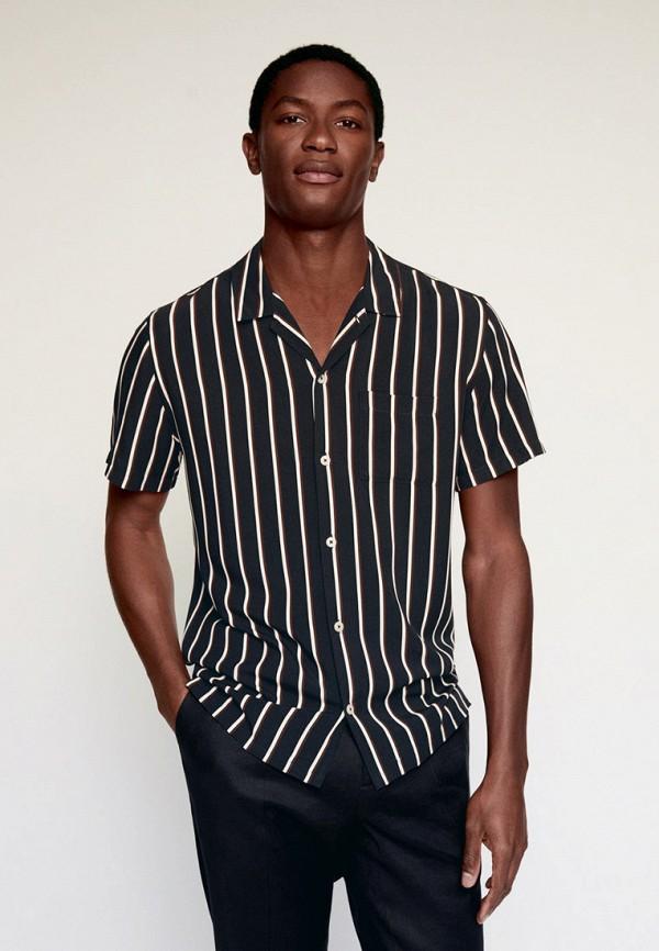 мужская рубашка с коротким рукавом mango man, черная