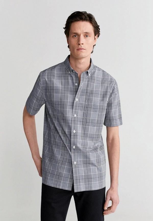 мужская рубашка с коротким рукавом mango man, серая