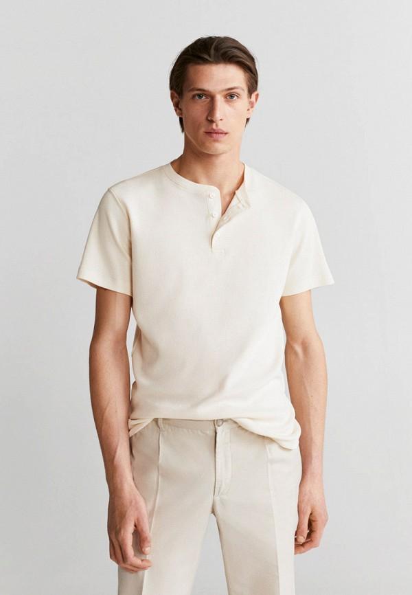 мужская футболка с коротким рукавом mango man, бежевая