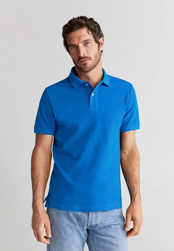 мужское поло mango man, синее