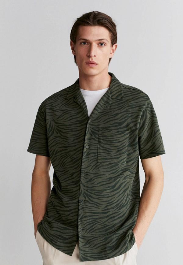 мужская рубашка с коротким рукавом mango man, хаки