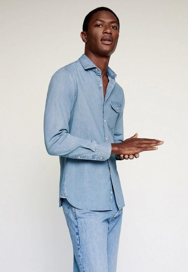 мужская джинсовые рубашка mango man, голубая