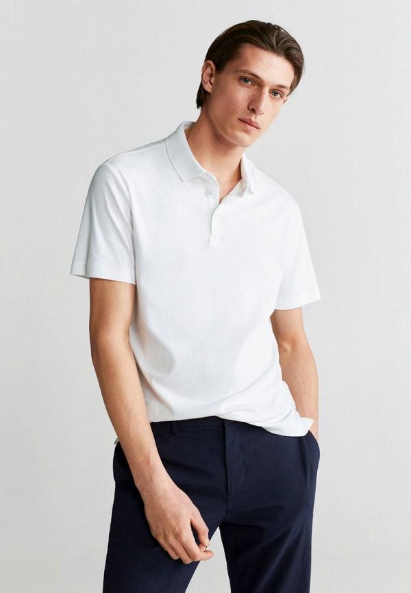 мужское поло mango man, белое