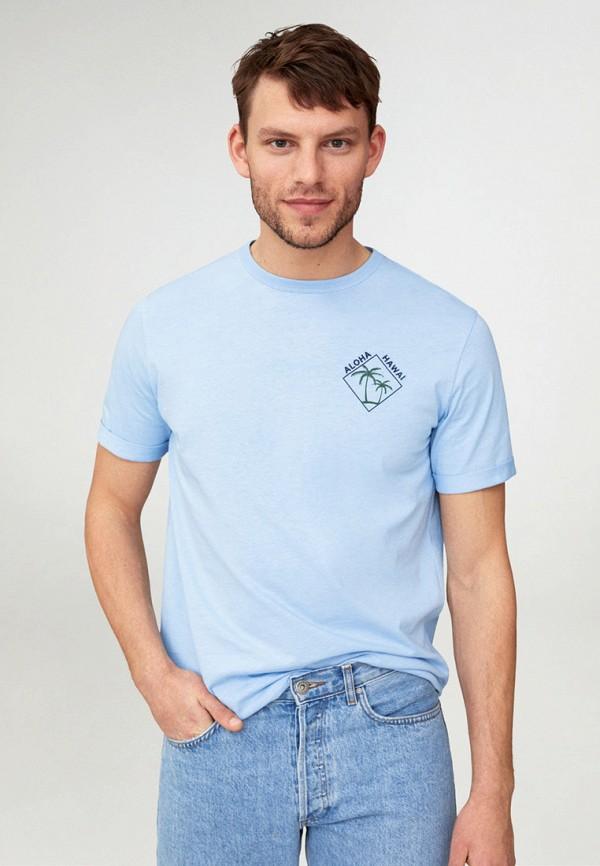 мужская футболка с коротким рукавом mango man, голубая