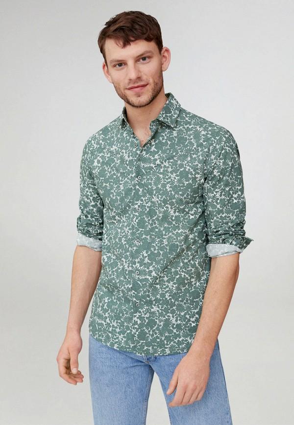 мужская рубашка с длинным рукавом mango man, зеленая