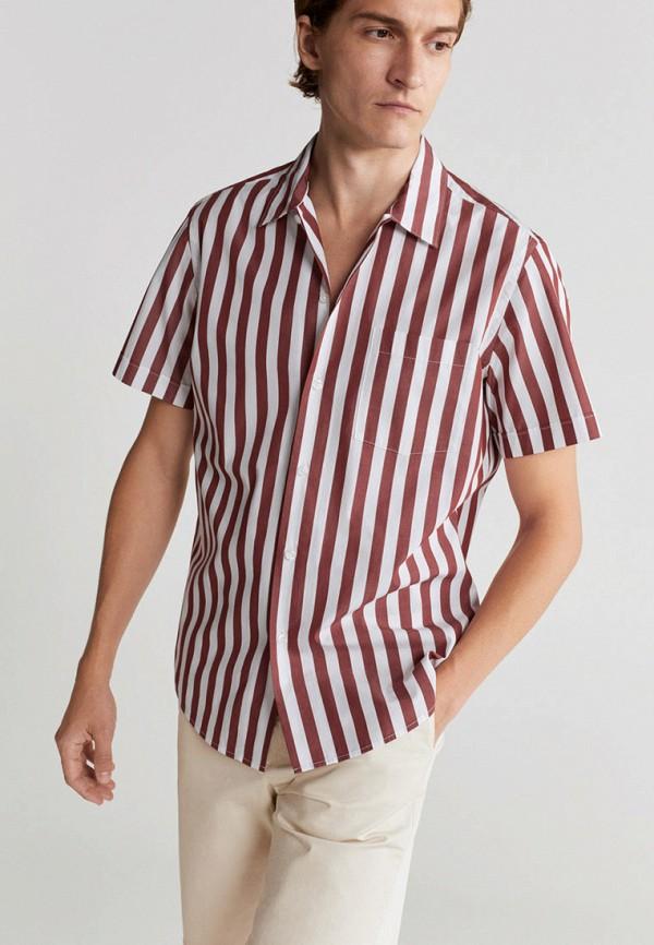 мужская рубашка с коротким рукавом mango man, красная