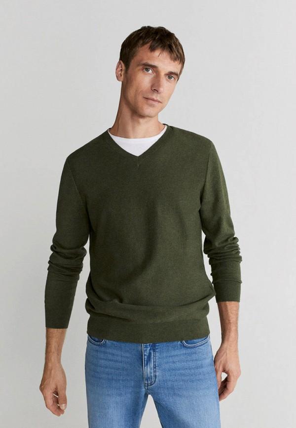 мужской пуловер mango man, зеленый