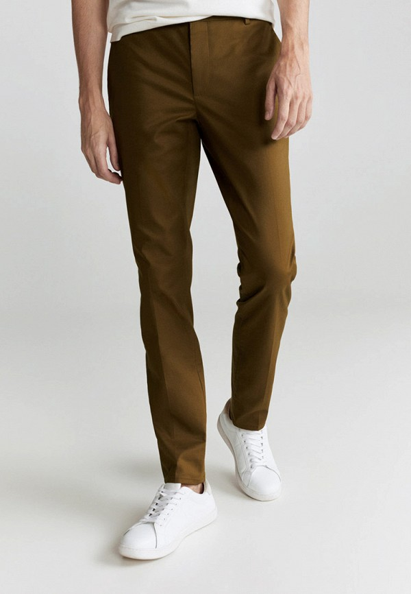 мужские зауженные брюки mango man, коричневые