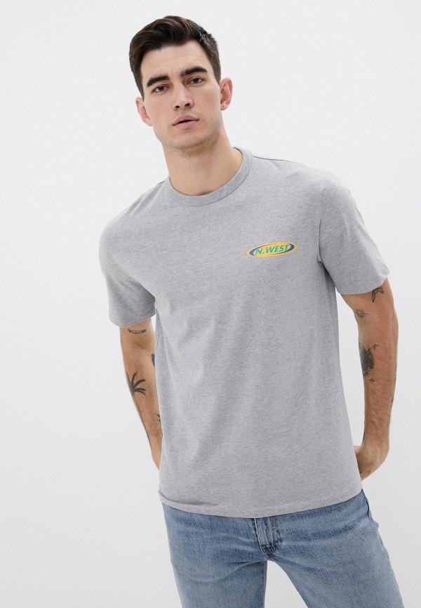 мужская футболка с коротким рукавом mango man, серая