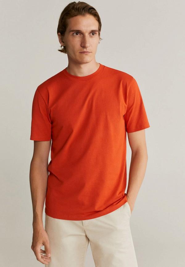 мужская футболка с коротким рукавом mango man, оранжевая