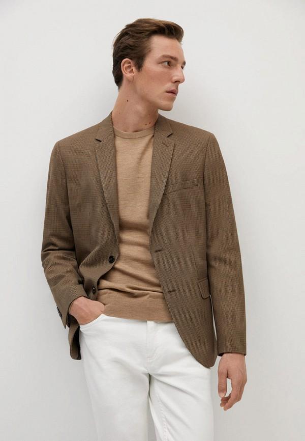 мужской пиджак mango man, коричневый
