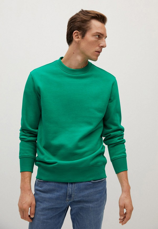 мужской свитшот mango man, зеленый