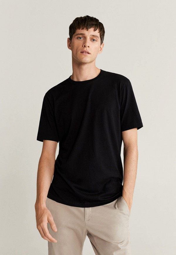 мужская футболка с коротким рукавом mango man, черная