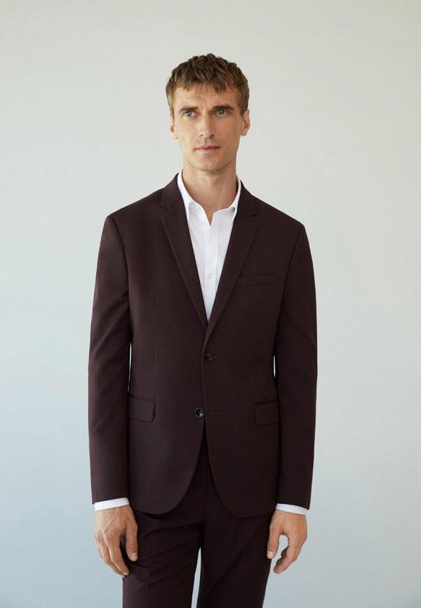 мужской пиджак mango man, бордовый