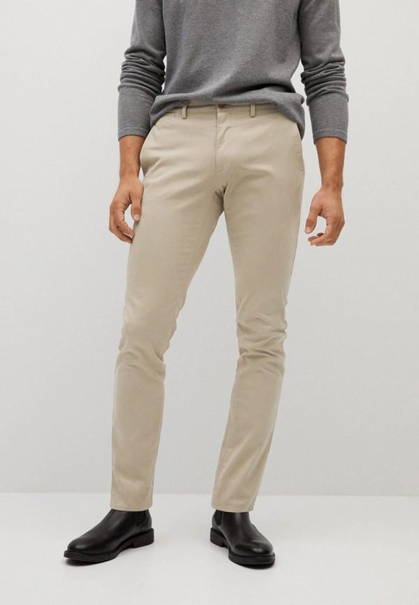 мужские прямые брюки mango man, бежевые