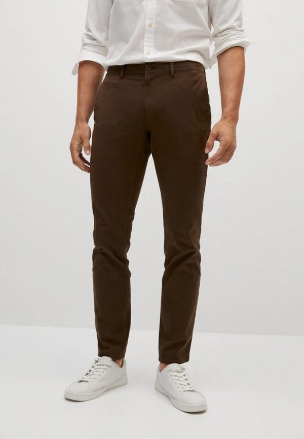 мужские прямые брюки mango man, коричневые