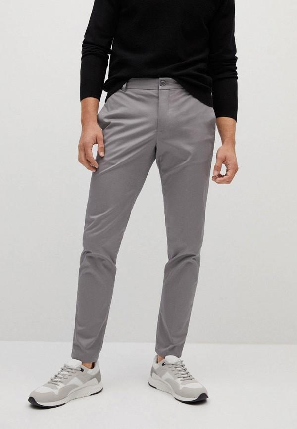 мужские зауженные брюки mango man, серые
