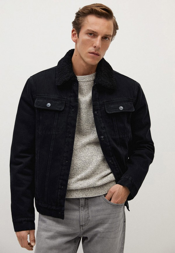 мужская джинсовые куртка mango man, черная