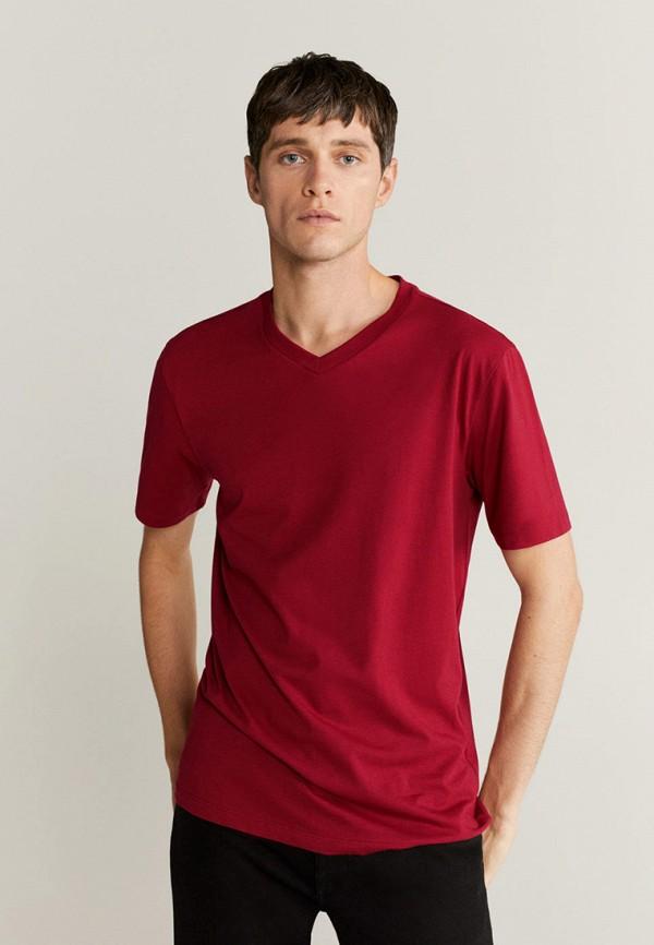 мужская футболка с коротким рукавом mango man, бордовая
