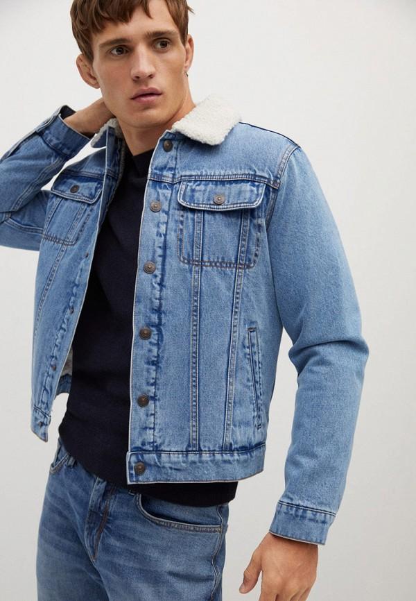 мужская джинсовые куртка mango man, голубая