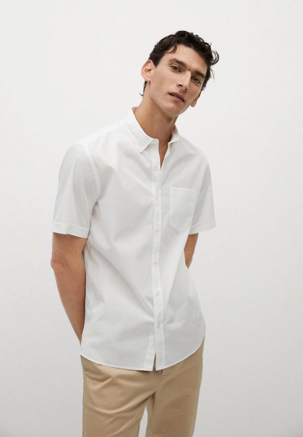 мужская рубашка с коротким рукавом mango man, белая
