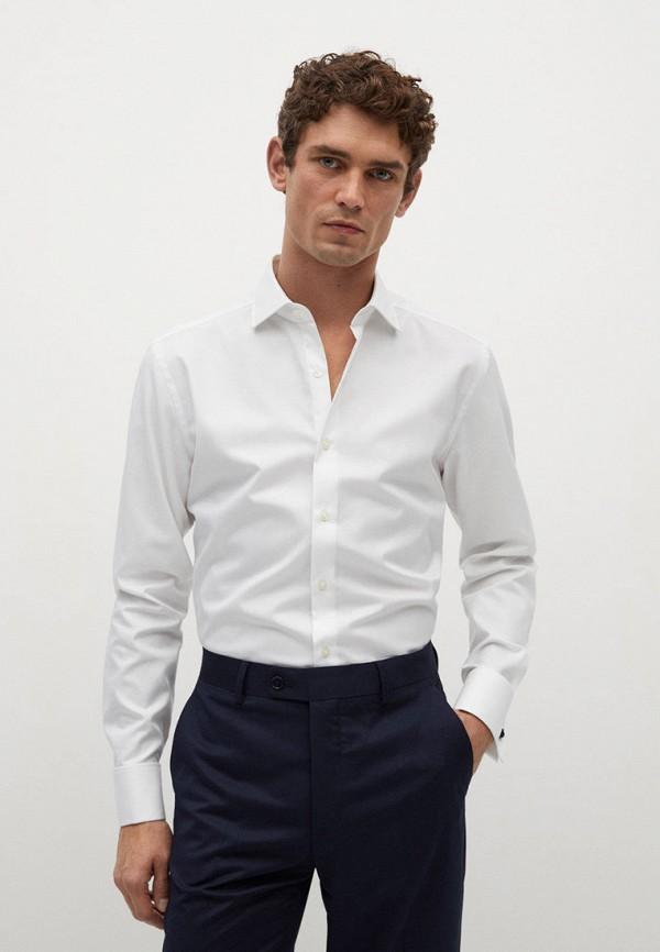мужская рубашка с длинным рукавом mango man, белая