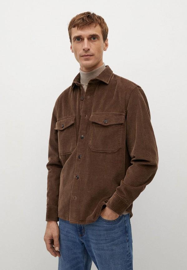 мужская рубашка с длинным рукавом mango man, коричневая