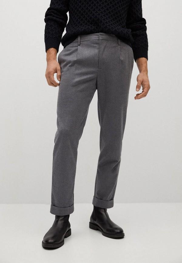 мужские прямые брюки mango man, серые