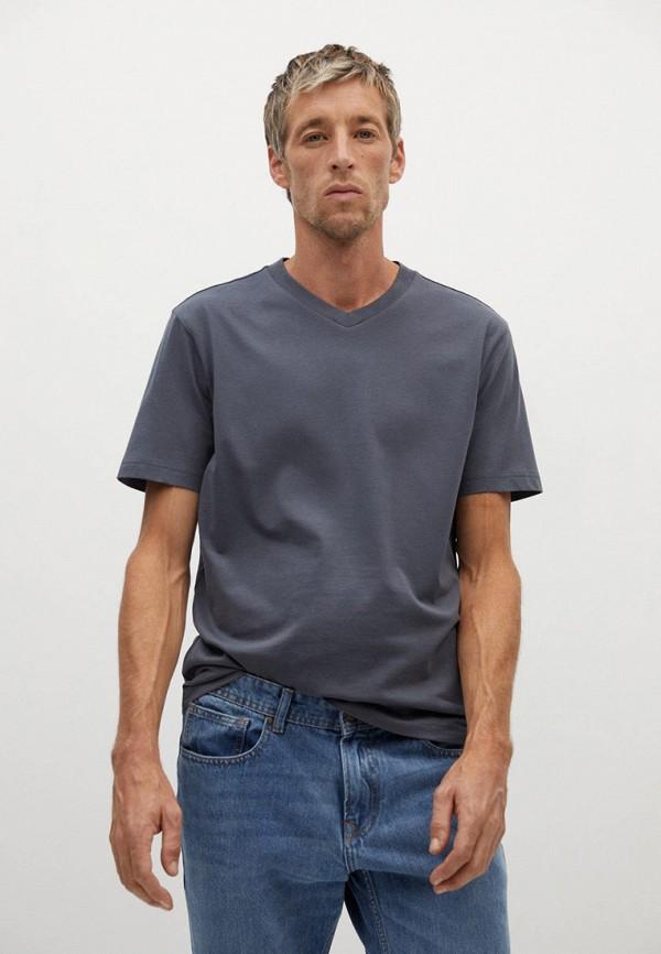 мужская футболка mango man, серая