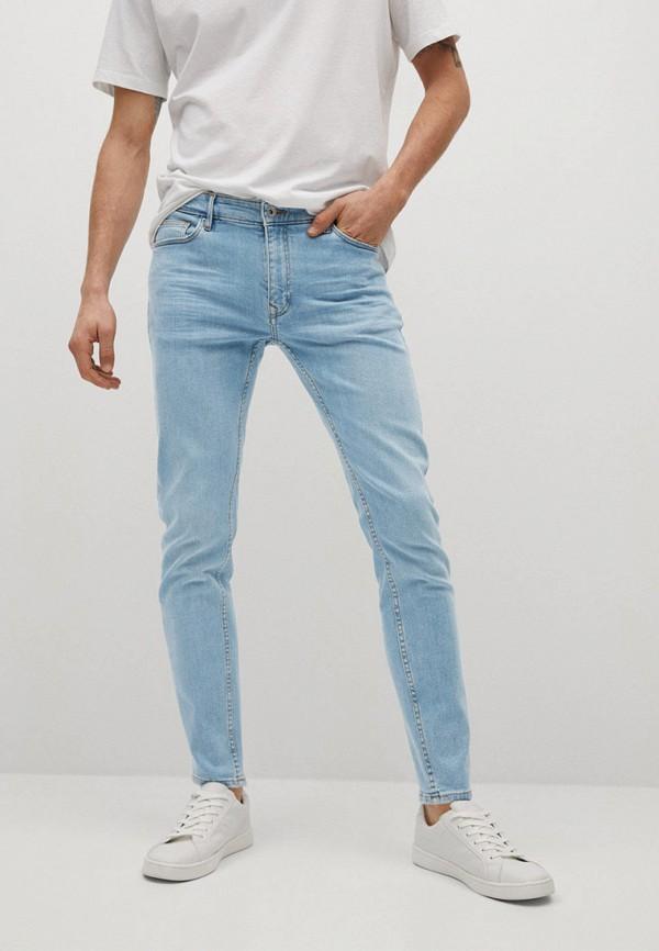 мужские зауженные джинсы mango man, голубые