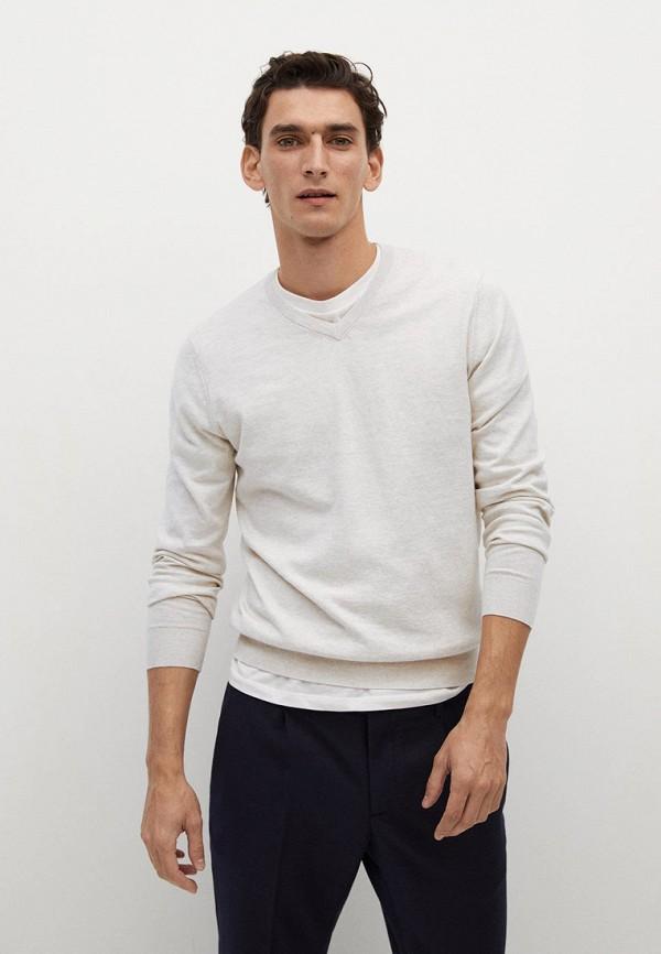мужской пуловер mango man, белый