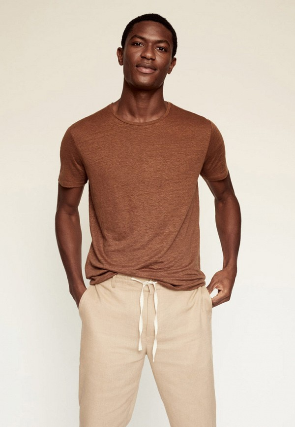 мужская футболка с коротким рукавом mango man, коричневая