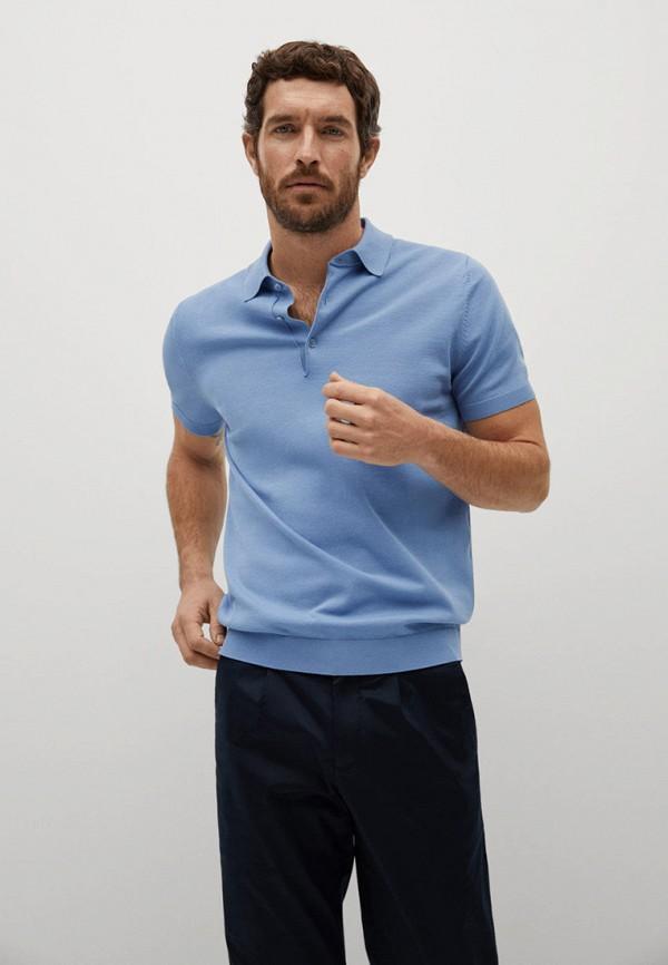 мужское поло mango man, голубое