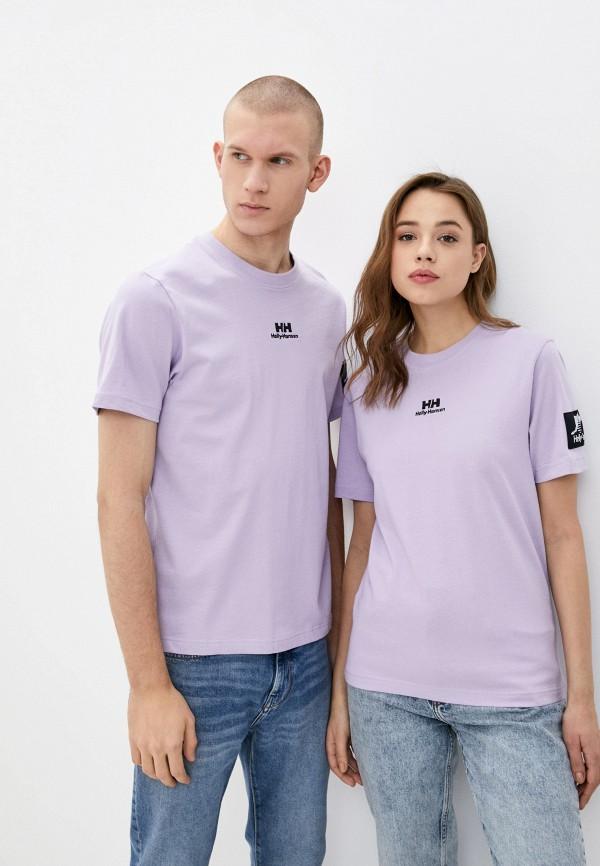 женская спортивные футболка helly hansen, фиолетовая