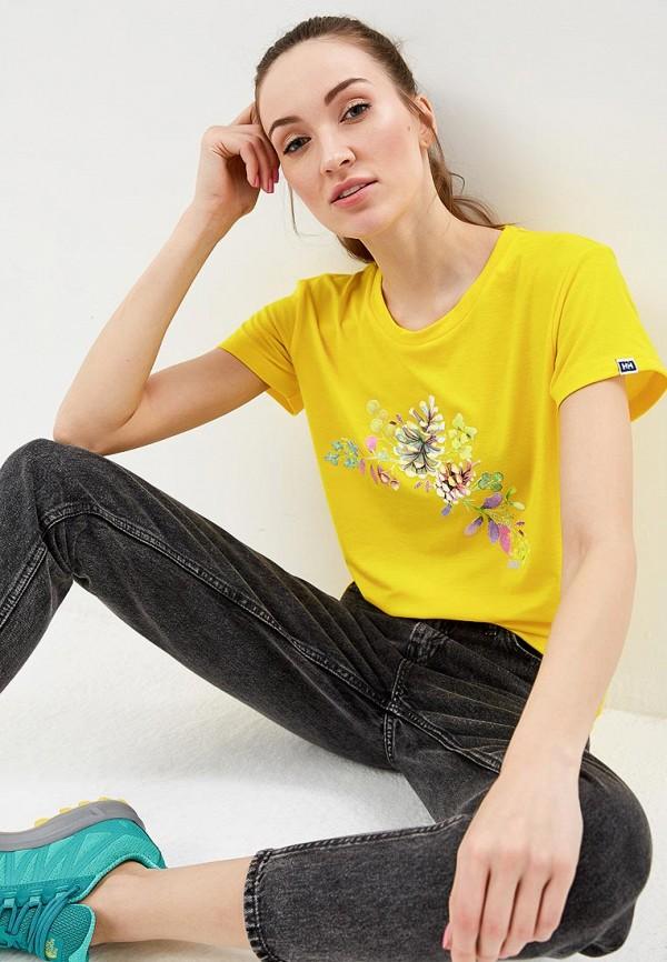 женская спортивные футболка helly hansen, желтая