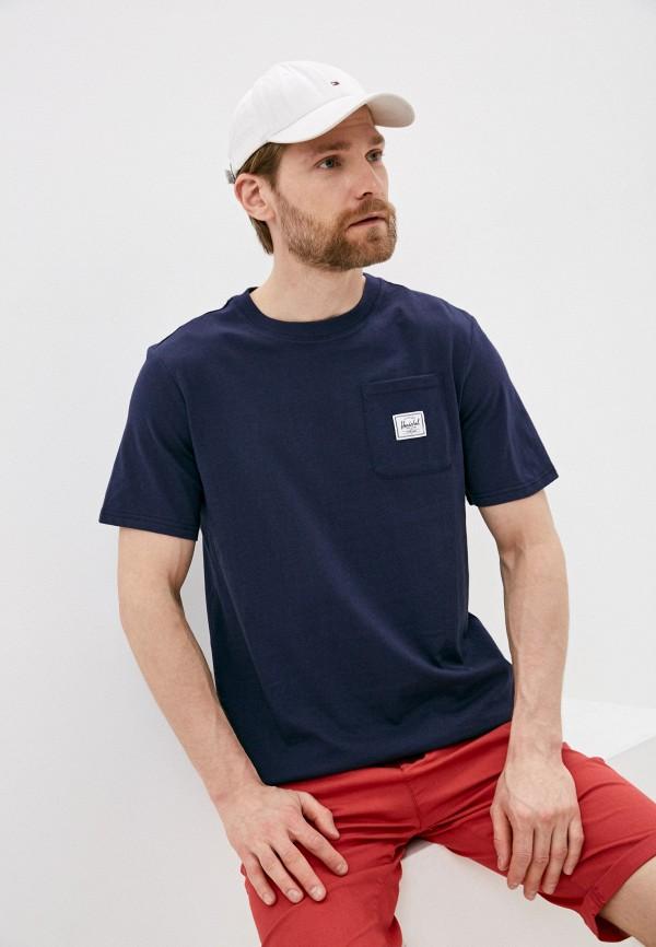 мужская спортивные футболка herschel supply co, синяя
