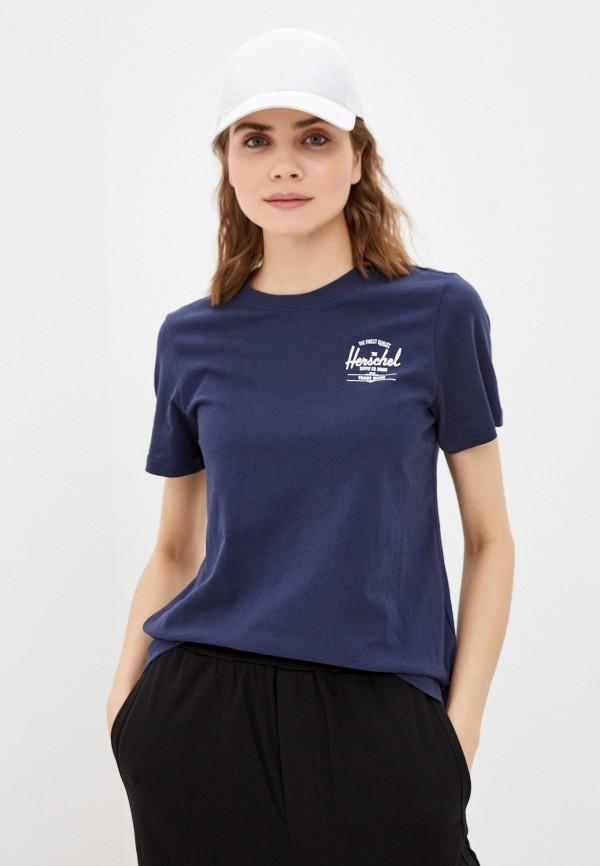 женская спортивные футболка herschel supply co, синяя