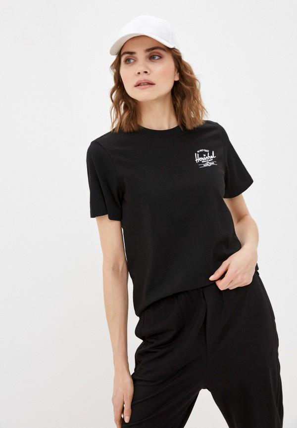 женская спортивные футболка herschel supply co, черная