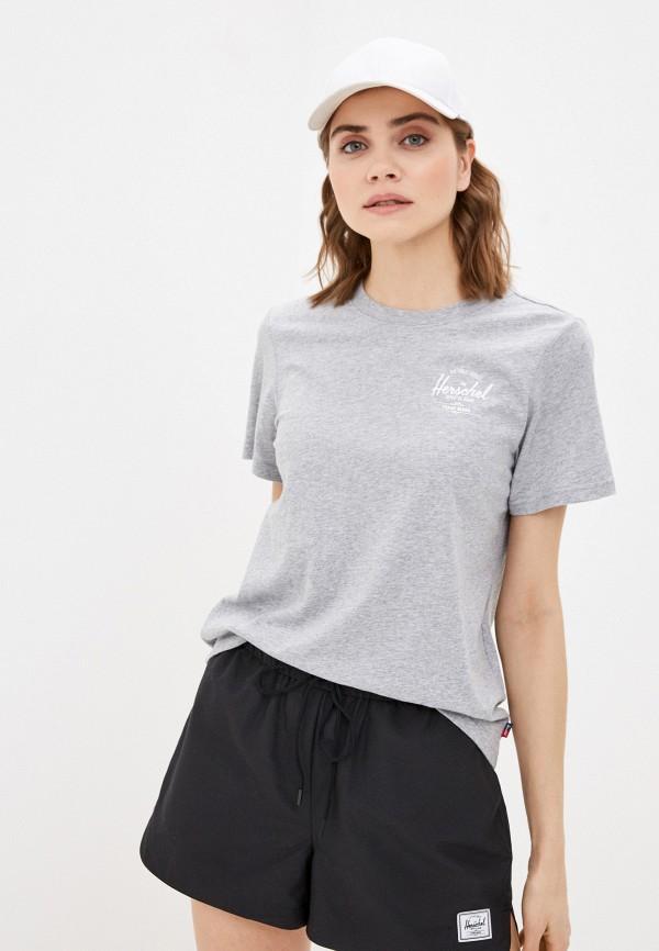 женская спортивные футболка herschel supply co, серая