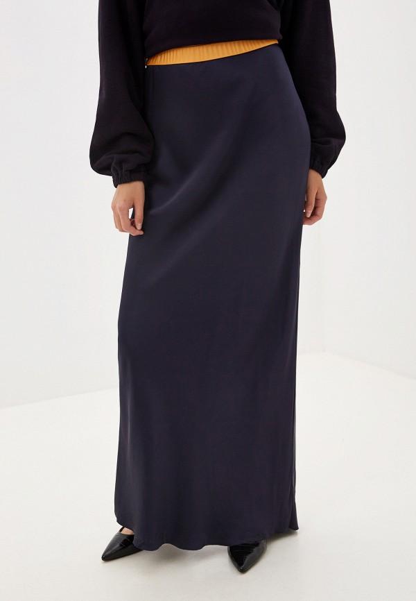 женская прямые юбка helmut lang, синяя