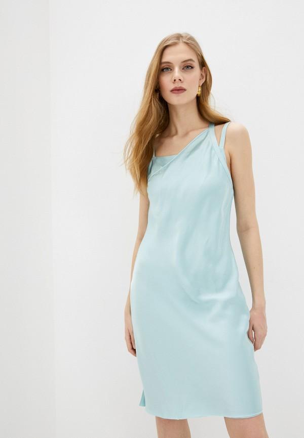 женское вечерние платье helmut lang, голубое