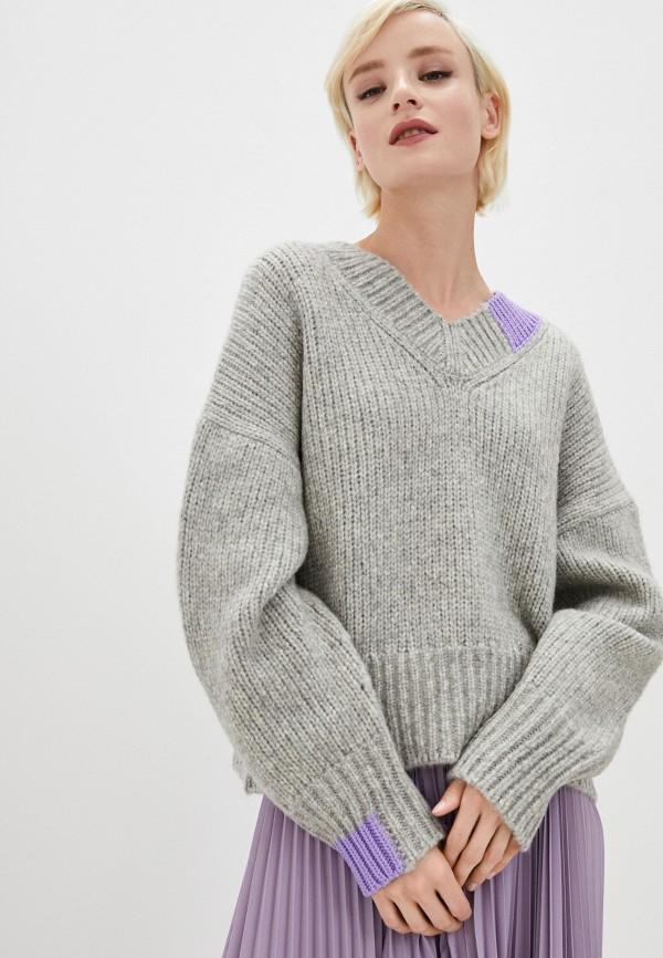 женский пуловер helmut lang, серый