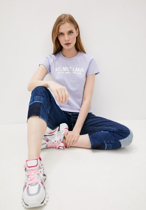 женская футболка helmut lang, фиолетовая