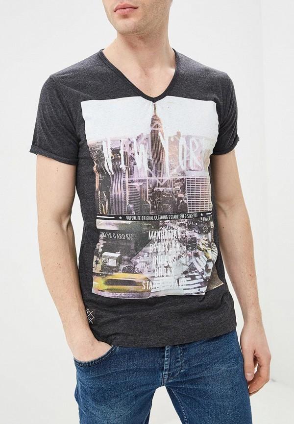 Фото - мужскую футболку Hopenlife серого цвета