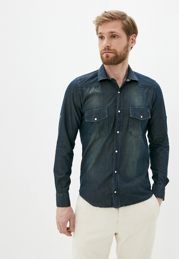 мужская джинсовые рубашка hopenlife, синяя